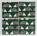 4 Ceramic Coasters in Scion Green Little Spike